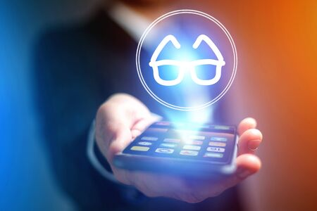 장치 - 의료 개념을 통해 안경보기 아이콘의보기 스톡 콘텐츠