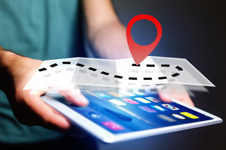 localization: Concept view of finding an itinerary on an online map - Technology concept Stock Photo