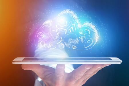 Concept view of cloud storage icon flying out a tablet - technology concept