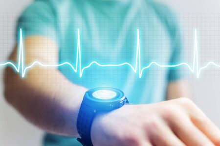 bpm: VIew of a Heart beatment analysing with a smartwatch app interface Stock Photo