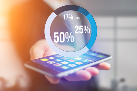 per: View of Blue survey graph interface with business theme going out a smartphone - Technology concept Stock Photo