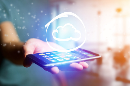 View of a Cloud icon going out a smartphone interface - technology concept