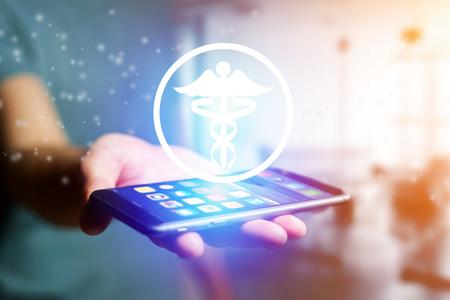 Vista di un'icona della farmacia che esce un'interfaccia dello smartphone - concetto di tecnologia Archivio Fotografico - 78260299