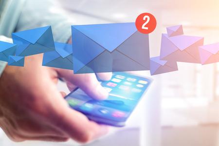 Weergave van het sociale netwerkbericht met een smartphone-technologie interface concept Stockfoto