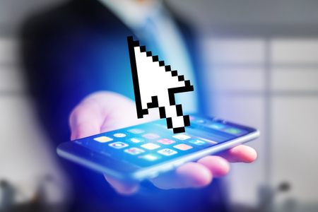View of a Pixeled black and white mouse pointer displayed on a futuristic interface - Connection concept