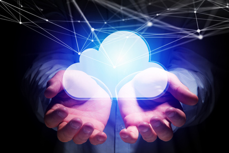 View of a Graphic network connected to a cloud displayed on a futuristic interface - Technology concept 写真素材