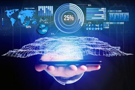 View of a Business stats displayed as graph and chart on a futuristic interface - Business concept Stock Photo
