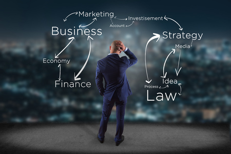 law suit: View of a Businessman in front of a wall with bulb lamp idea and business organization - Innovation concept