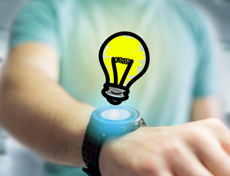 business graphics: View of a Innovation bulb lamp turned on displayed on a futuristic interface  - technology and inspiration concept