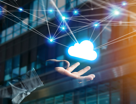 View of a Cloud network displayed on a futuristic interface with net and connection - technology and business concept Stock Photo
