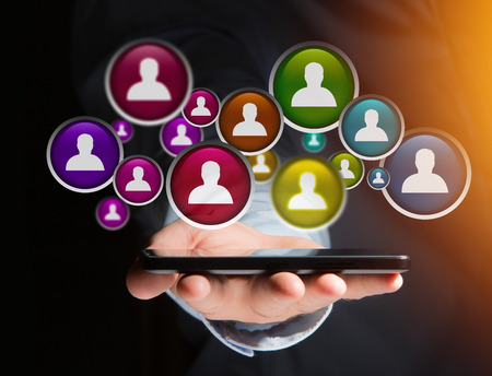 View of a Group of contact icon displayed on a technology interface background - Network and communication concept Imagens