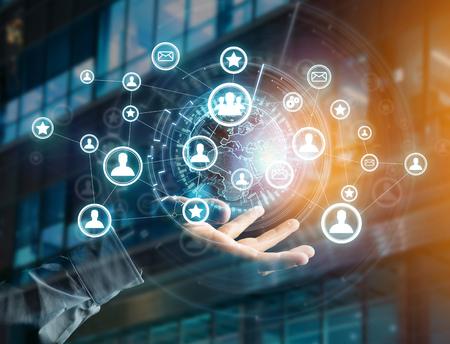 グローブと接続 - 未来のインターフェイスに表示される国際ネットワークの技術やビジネスの概念
