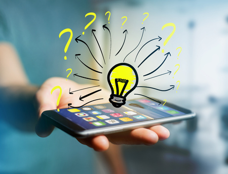View of a Innovation bulb lamp turned on displayed on a futuristic interface with question mark - technology and inspiration concept