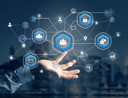 View of an International business network connection displayed on a futuristic interface with technology icon and sphere globe - Worldwide business concept
