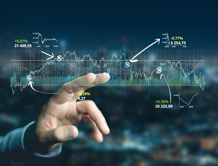 View of a Trading forex data information displayed on a stock exchange interface - Finance concept Archivio Fotografico