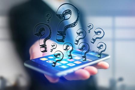 Vista del icono de flechas dibujadas a mano saliendo de una interfaz de teléfono inteligente de un empresario en la oficina - concepto de Ideas