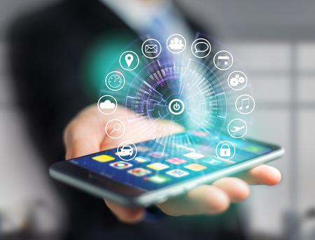 Vue d'un bouton Accueil d'une interface technologique entourée d'application - concept d'application de technologie Banque d'images
