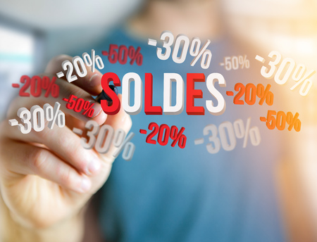 sell: View of a Sales promotion 20% 30% and 50% flying over an interface - Shopping concept Stock Photo