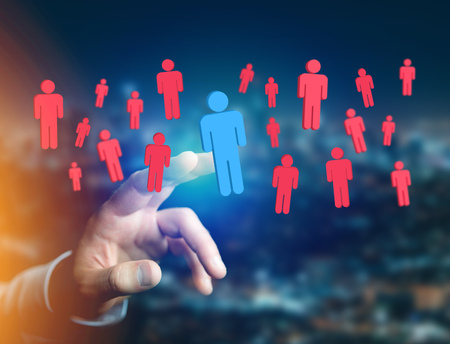 intruder: View of a Intruder in a group of network people - Business and contact concept