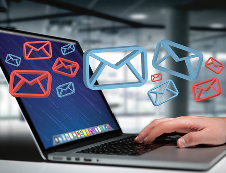 View of Approved email and spam message displayed on a futuristic interface - Message and internet concept