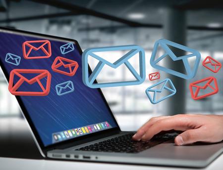 Vista del correo electrónico aprobado y el mensaje de correo no deseado que se muestran en una interfaz futurista - Mensaje y concepto de internet