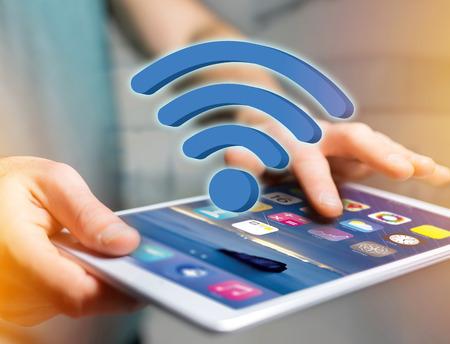 미래의 인터페이스 - 연결 및 인터넷 개념에 표시하는 와이파이 기호보기 스톡 콘텐츠