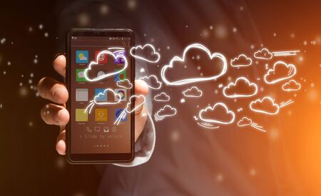 phone: View of a Concept of cloud stockage with icon around a smartphone Stock Photo