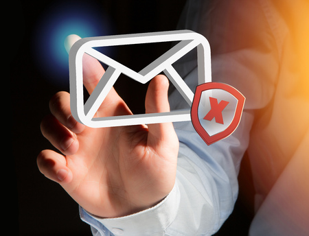 View of a Spam message Email symbol displayed on a futuristic interface - Message and internet concept