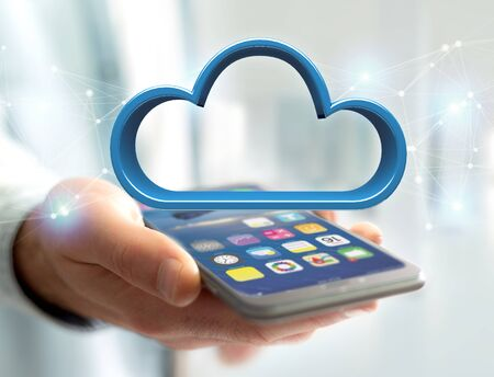 mobile communication: View of a Blue cloud displayed on a futuristic interface - 3d rendering