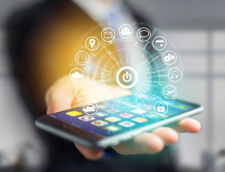 アプリケーション - アプリの技術コンセプトに囲まれた技術インターフェイスのホームボタンの表示