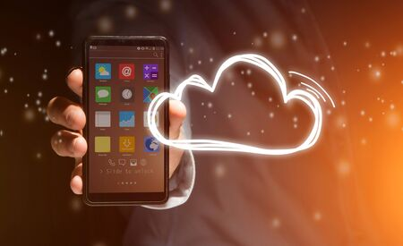 smartphone icon: View of a Concept of cloud stockage with icon around a smartphone Stock Photo