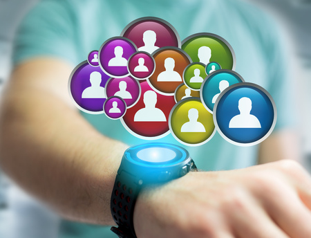View of a Group of contact icon displayed on a technology interface background - Network and communication concept Stock Photo