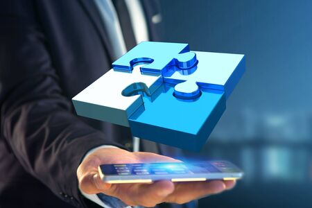 View of  Four puzzle pieces making a logo on a futuristic interface - 3d rendering