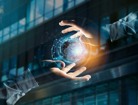 View of a International globe communication displayed on a futuristic interface - Business and technology connection Stock Photo