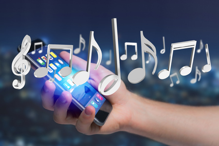 Vue de notes de musique de rendu 3D sur une interface futuriste