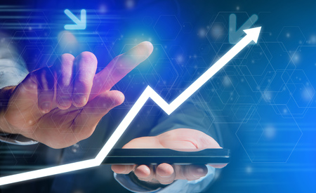 View of a Concept of arrow going up on a  technology interface Stock Photo