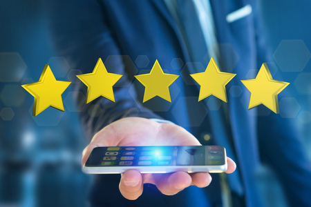 customer service phone: View of Five yellow stars on a futuristic interface - 3d rendering