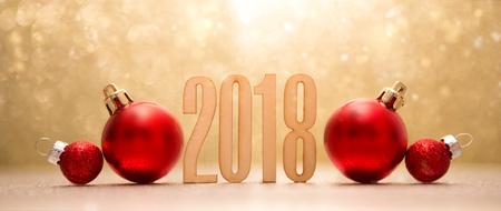 Blick auf ein frohes neues Jahr 2018 Hintergrund mit Weihnachtsdekoration Standard-Bild - 87887982
