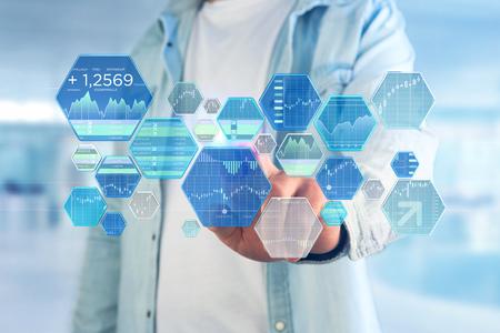 Weergave van beursinformatie op een futuristische interface Stockfoto