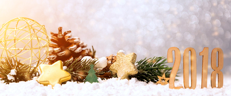 View of a Happy new year 2018 background with christmas decoration