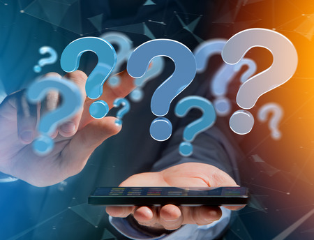View of Blue question mark displayed on a futuristic interface - 3d rendering Stock Photo