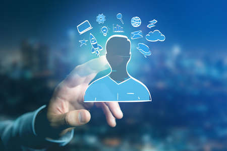 View of Hand drawn icon of business, multimedia and technology in interaction with a people Stock Photo