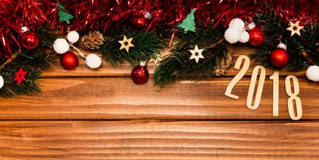 Widok Szczęśliwy nowego roku 2018 tło z boże narodzenie dekoracją