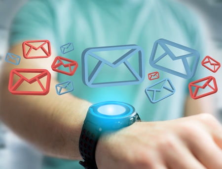View of Approved email and message displayed on a futuristic interface - Message and internet concept Stock Photo