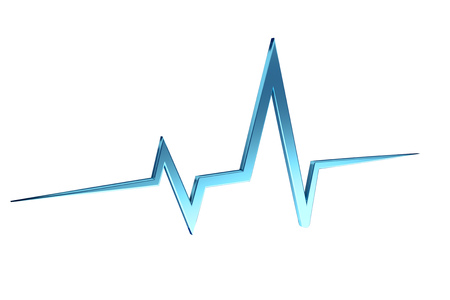 View of a 3d rendering heart beat line on a color background