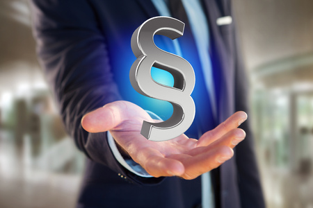 View of the Justice and law symbol displayed on a futuristic interface - 3d rendering   Stock Photo
