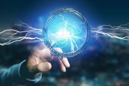 View of a Thunder lighting bolt in a science fiction wheel interface - 3d rendering