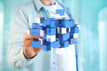 View of a 3d rendering blue and white cube on a futuristic interface Stock Photo