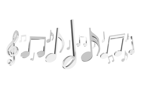View of a 3d render music notes on a color background