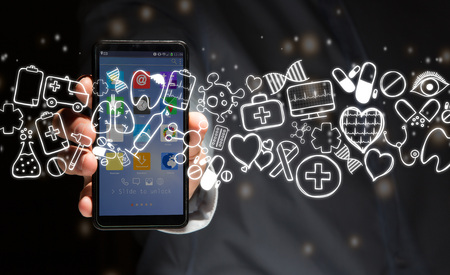 View of a Hand of a man holding smartphone with medical icons all around